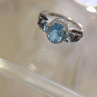 11号 新品シルバー ジルコニアリング ブルー×レッド(リング(指輪))