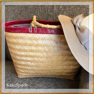 ケイトスペードニューヨーク(kate spade new york)のケイトスペード バンブーかごバッグ トート型✴︎トゥモロー イエナお好きな方にも(かごバッグ/ストローバッグ)