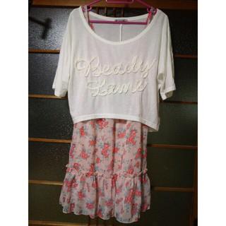 シマムラ(しまむら)のしまむら♡Tシャツ付き花柄フレアワンピース(ひざ丈ワンピース)