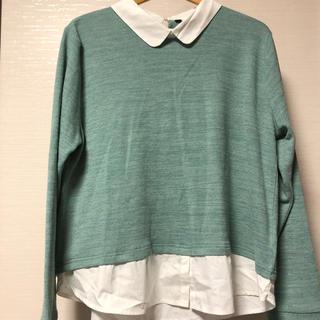 シャツ付き グリーン トップス(カットソー(長袖/七分))