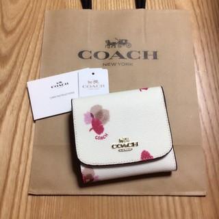 コーチ(COACH)の新品未使用 店頭完売品 COACH 三つ折り財布 人気 フローラル ホワイト(財布)