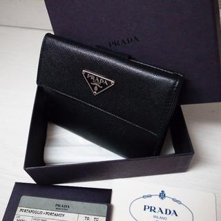 プラダ(PRADA)の正規品♡超美品♡プラダ 折りたたみ財布 黒 サフィアーノレザー バッグ 財布(財布)