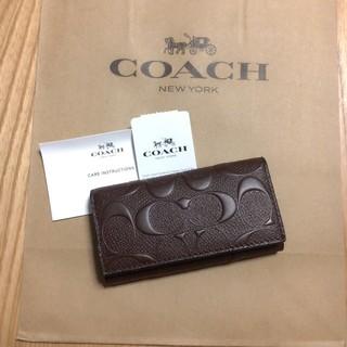 コーチ(COACH)の新品未使用 COACH キーケース 人気 エンボス ブラウン(キーケース)