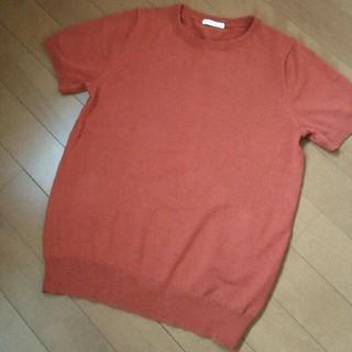 ジーユー(GU)のGU ジーユー 半袖ニット ダークオレンジ Mサイズ(ニット/セーター)