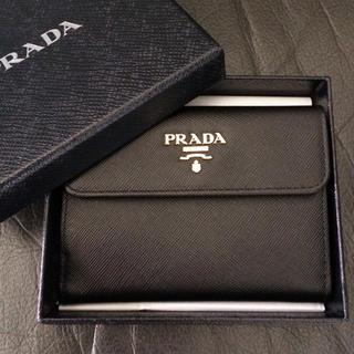 プラダ(PRADA)の新品未使用 プラダ 2つ折財布 サフィアーノ ブラック 黒 長バッグコインケース(財布)
