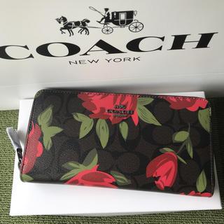 コーチ(COACH)のコーチ 長財布 COACH ラウンドファス 新作 薔薇(財布)