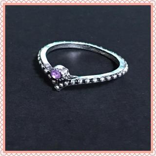 ピンク ストーン シルバー ファッション リング 13号(リング(指輪))