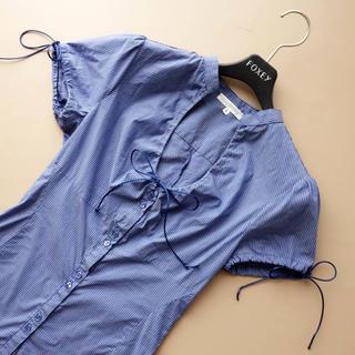 ナラカミーチェ(NARACAMICIE)のナラカミーチェ■ 0 青ストライプ りぼん ブラウス シャツ (シャツ/ブラウス(半袖/袖なし))