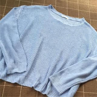 ジーユー(GU)のGU  爽やかニット ブルー M  (ニット/セーター)
