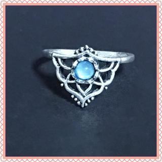 シルバー ブルー ストーン ファッション リング 16号(リング(指輪))