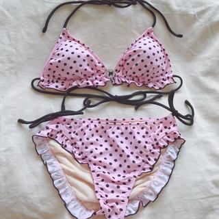 ピンキーガールズ(PinkyGirls)の美品 Pinky Girls 水着 ビキニ 水玉 ドット ピンク 黒 M フリル(水着)