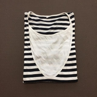 MUJI (無印良品) - 無印良品 授乳服 半袖Tシャツ  ボーダー Black&White M〜L