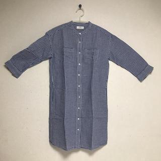 UNIQLO - 青のギンガムチェックのワンピースシャツ