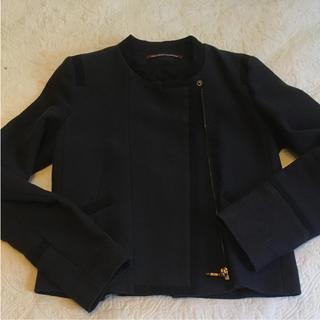 コントワーデコトニエ(Comptoir des cotonniers)のコントワーデコトニエ ノーカラー ジップ サマー ジャケット 麻混 ネイビー、紺(ノーカラージャケット)