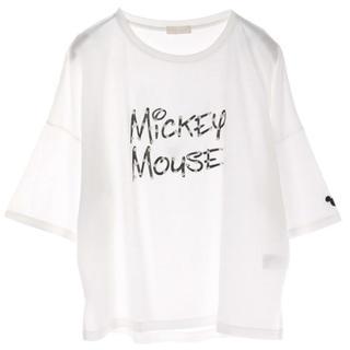 アースミュージックアンドエコロジー(earth music & ecology)のearth Mickey/earthタイポTシャツ/ホワイトF(Tシャツ(半袖/袖なし))