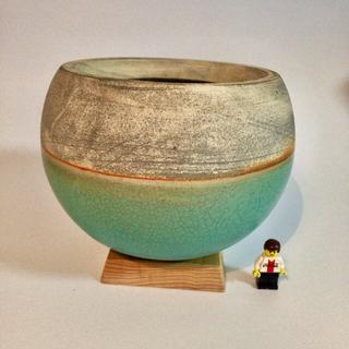 球体鉢 ターコイズブルー 植木鉢 木製スタンド付き(プランター)
