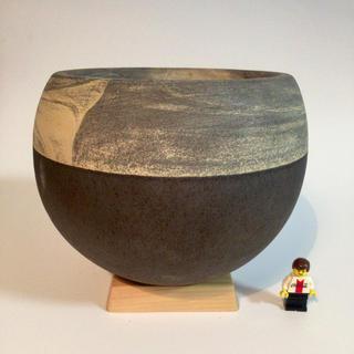 球体鉢 ブラック 植木鉢 木製スタンド(プランター)