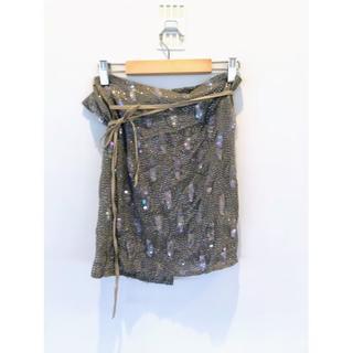 アンドゥムルメステール(Ann Demeulemeester)のAnn Demeulemeesteer シルクスパンコール刺繍ラップスカート(ミニスカート)