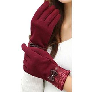 女性用 グローブ 手袋 ワインレッド(手袋)