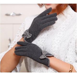 《裏起毛》リボン付き手袋 スマホ対応 レディース グレー(手袋)