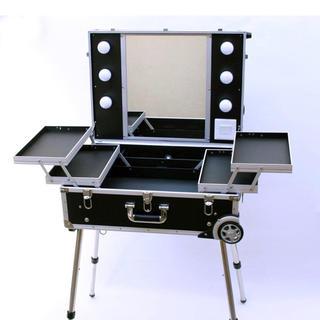 ハリウッドミラー キャスター付きプロ用メイクステーション自立タイプ(ブラック)(デスクチェア)