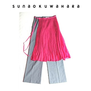 スナオクワハラ(sunaokuwahara)のスナオクワハラ ピンク プリーツ ドッキング エプロン シースルー(その他)