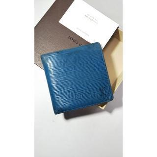 ルイヴィトン(LOUIS VUITTON)の★ルイヴィトン エピ折り財布 ブルー  黒ロゴ 1405(折り財布)