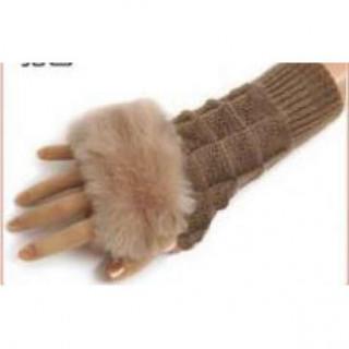 ファー付き 指なし手袋 ライトブラウン(手袋)