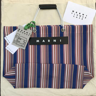 マルニ(Marni)の正規品 マルニ  ブルー ストライプ バッグ マルニフラワーカフェ (トートバッグ)