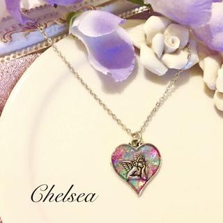 ヴィンテージ風 シルバーハート 天使のネックレス