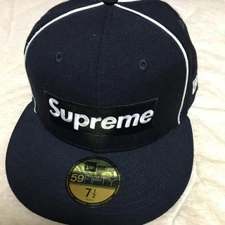 Supreme - Supreme Box Logo Piping NewEra 17ss ネイビー