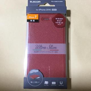 エレコム(ELECOM)のiPhone7  iPhone8 ケースソフトレザー 手帳型 赤 レッド(iPhoneケース)