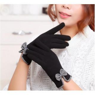 《裏起毛》リボン付き手袋 スマホ対応 レディース ブラック(手袋)