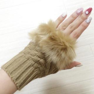 ≪新品≫キャメル★レディース手袋 ファー付きミトン(手袋)