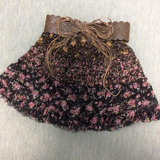 しまむら - しまむら シフォン スカート ベルト セット 花柄 フリル