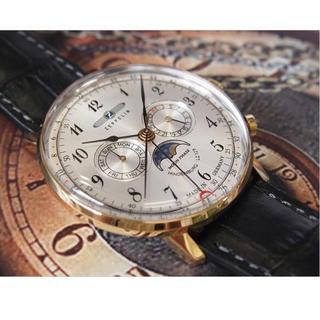 ツェッペリン(ZEPPELIN)の新品 ツェッペリン ビンデンブルク ムーンフェイズ アンティーク レザー メンズ(腕時計(アナログ))