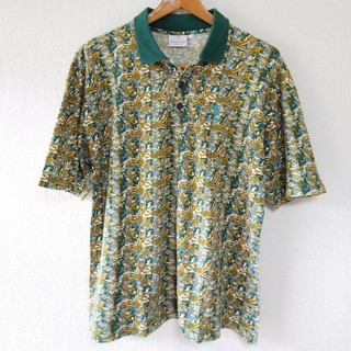 トラサルディ(Trussardi)のTRUSSARDI 総柄 ポロシャツ ヴィンテージ イタリア製(ポロシャツ)