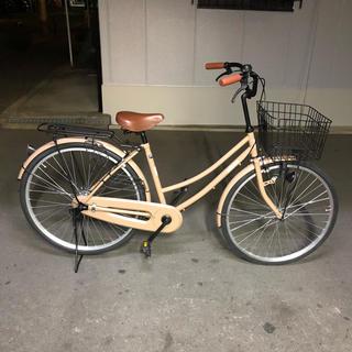 26インチ  ママチャリ  レッド  大型メッシュカゴ(自転車本体)