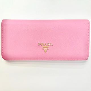 プラダ(PRADA)の美品ピンク折り畳み長財布(財布)