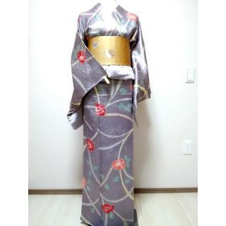 【美品】小紋 正絹 絞り柄 ラベンダー色 EY23(着物)