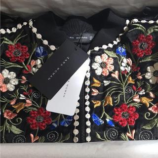 ラス1 ザラ 完売品 刺繍 ブレザー フリル ジャケット 花柄 フラワー ワンピ