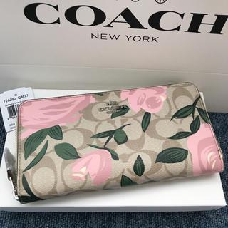 COACH - コーチ 長財布 COACH ラウンドファス 新作 薔薇