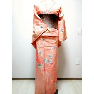 【美品】正絹 小紋 オレンジ 200(着物)