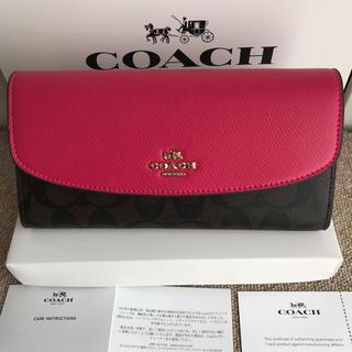 COACH - コーチ長財布 COACH フラットボタン ブラウンxローズピンク