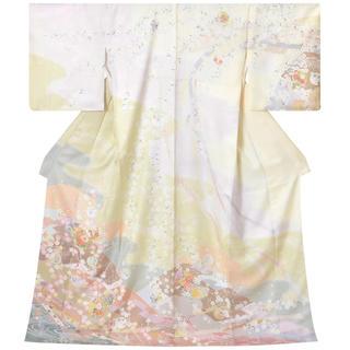 数回着用 着物 海桜 ピンクとグレー 訪問着(着物)