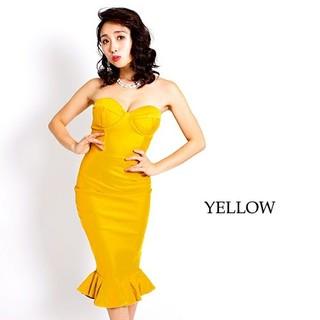 スーパーストレッチビスチェ風切り替えデザイン裾フレアータイトベアミディドレス(ミディアムドレス)