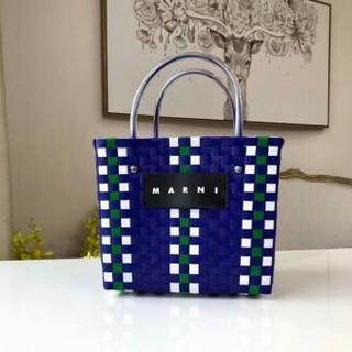 マルニ(Marni)のMARNI  ピクニックバッグ  ブルー(かごバッグ/ストローバッグ)
