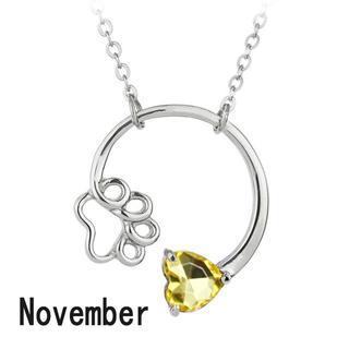 猫 犬 ネックレス 肉球ハート誕生石ネックレス  11月 November♪(犬)
