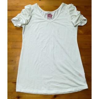 ピンキーガールズ(PinkyGirls)のピンキーガールズ Vネック T シャツ ギャザースリーブ パフスリーブ リボン付(Tシャツ(半袖/袖なし))
