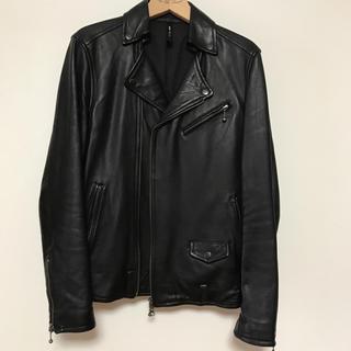 グラム(glamb)のglamb レザーライダースジャケット 黒 サイズ1(ライダースジャケット)